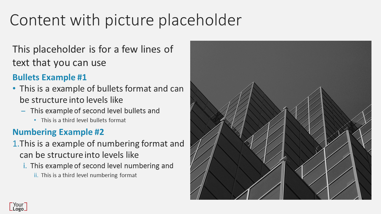 Content with picture placeholder Slide