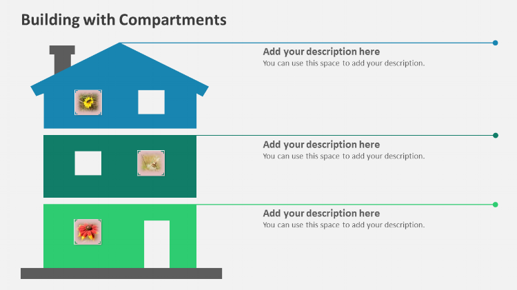 Building with compartments Powerpoint design elements