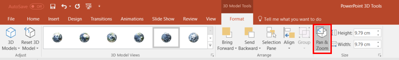 Pan and Zoom format in PowerPoint 3D model